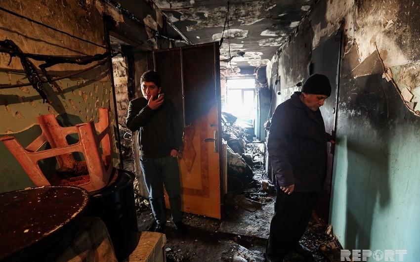 Bakıda yanan yataqxanadan - FOTOREPORTAJ