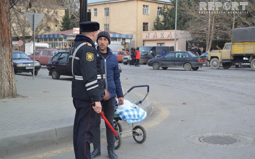 Mingəçevirdə yol hərəkəti qaydalarını pozan piyadalara qarşı reyd keçirilib - FOTO