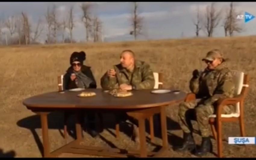 Prezident Cıdır düzündə paxlava ilə çay içib: Dostlarımız sevinsin, düşmənlərin gözü kor olsun!