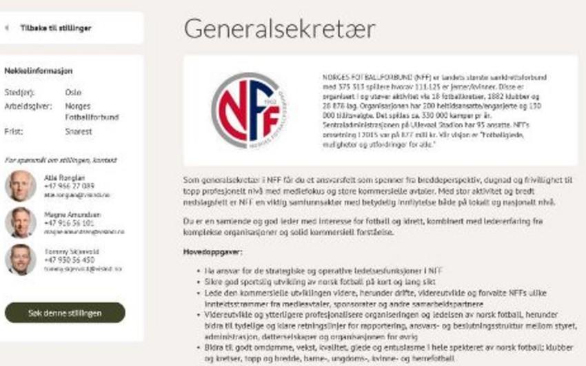 Norveç Futbol Federasiyası baş katibi CV ilə axtarır