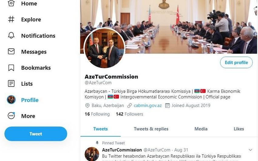 Создан Twitter-аккаунт межправительственной комиссии Азербайджан-Турция