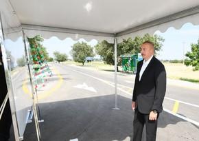 Prezident Goranboyda avtomobil yolunun açılışında iştirak edib - YENİLƏNİB