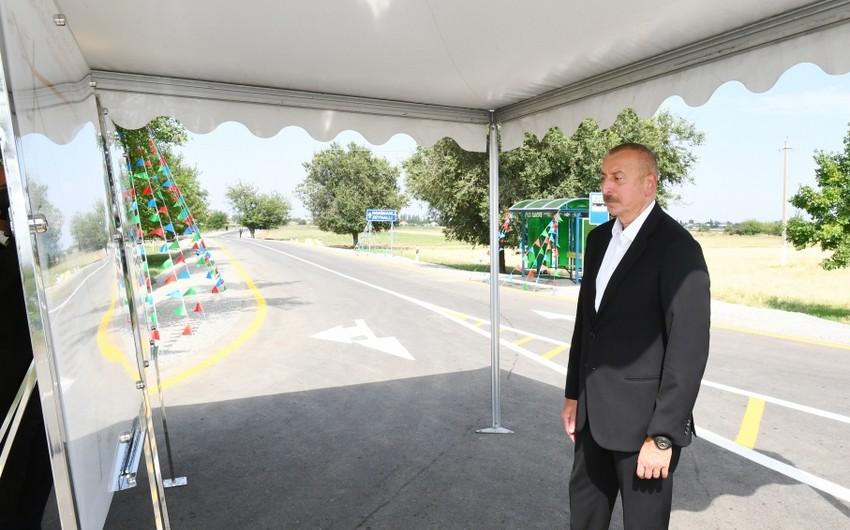 President Ilham Aliyev inaugurates highway in Goranboy