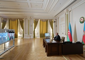 Ilham Aliyev attends opening of modular hospital in video format