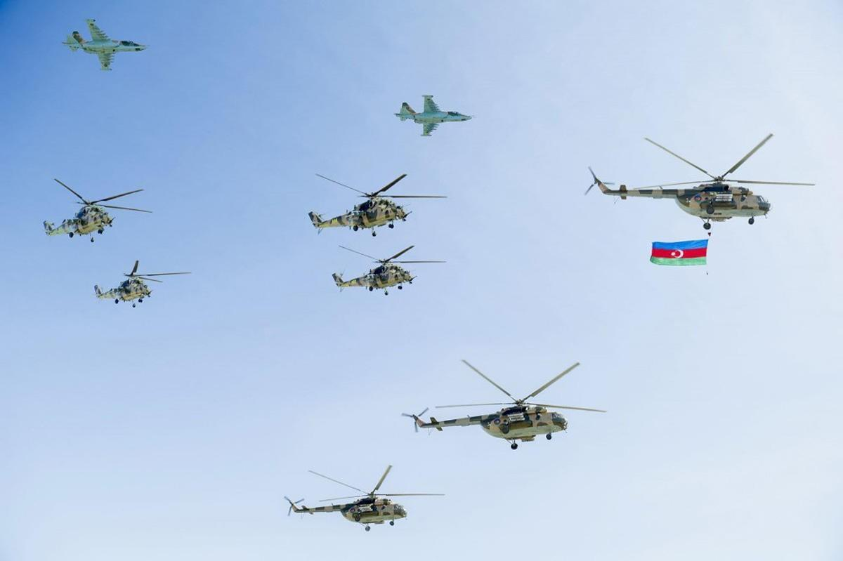 Military aircraft, helicopters conducting next flights as part of preparations for parade in Baku