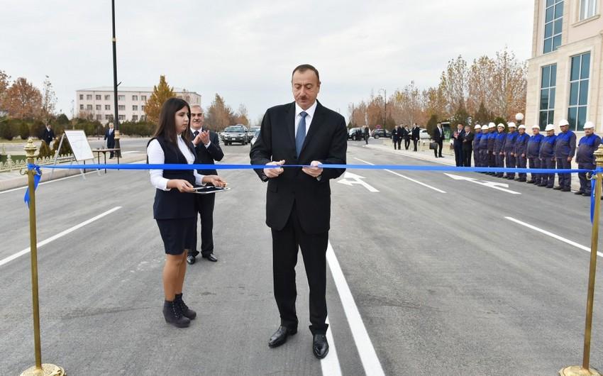 Prezident İlham Əliyev Naxçıvanda yol açılışında iştirak edib