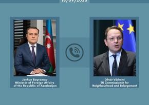 Jeyhun Bayramov, EU Commissioner hold telephone conversation