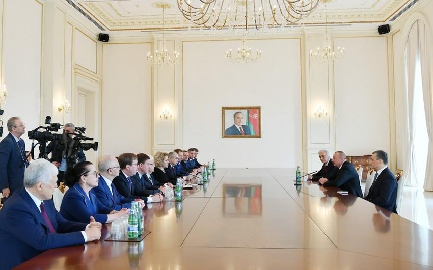 Prezident İlham Əliyev Rusiya Federal Məclisi Federasiya Şurasının sədrini qəbul edib