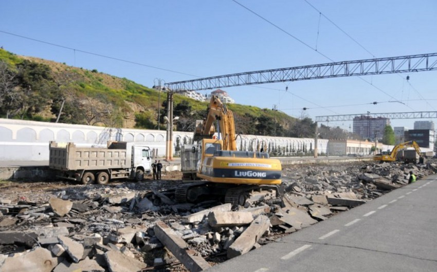Rails are unripped in Baku railway station
