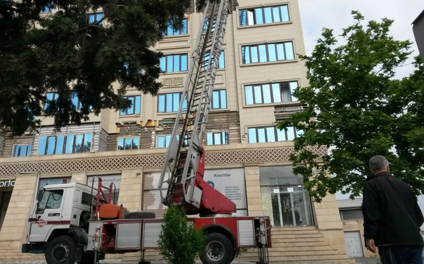 Gəncədə binaların fasadlarına vurulan üzlüklərin sökülməsinə başlanılıb - FOTO