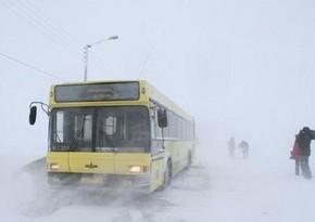 Автобус с возвращающимися в Ханкенди армянамипопалв снежный занос