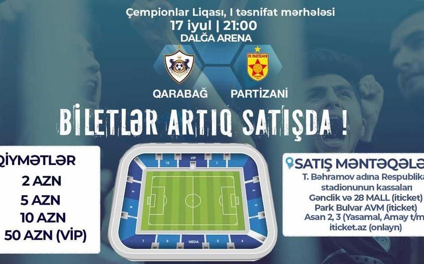 Qarabağ - Partizani matçının biletləri satışa çıxarılıb