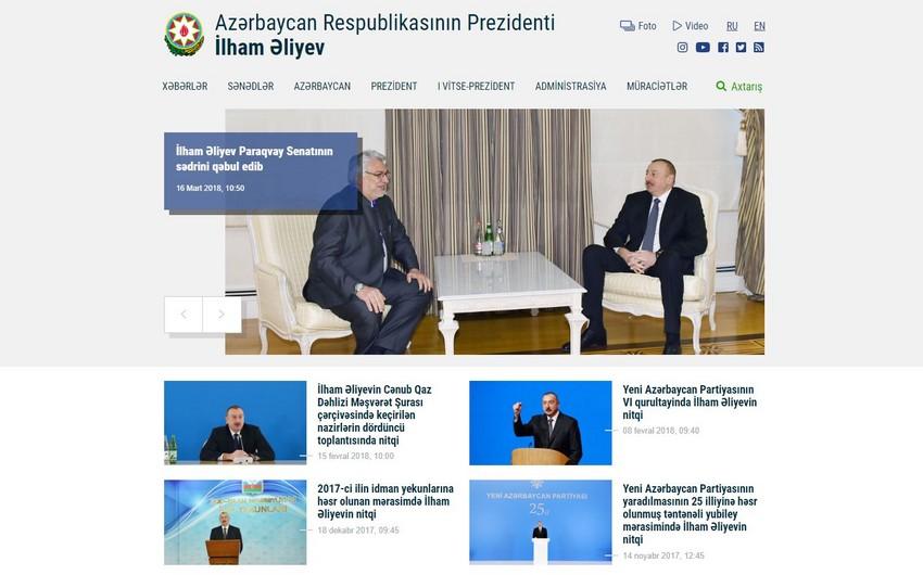 Azərbaycan Prezidentinin rəsmi saytının dizaynı dəyişdirilib