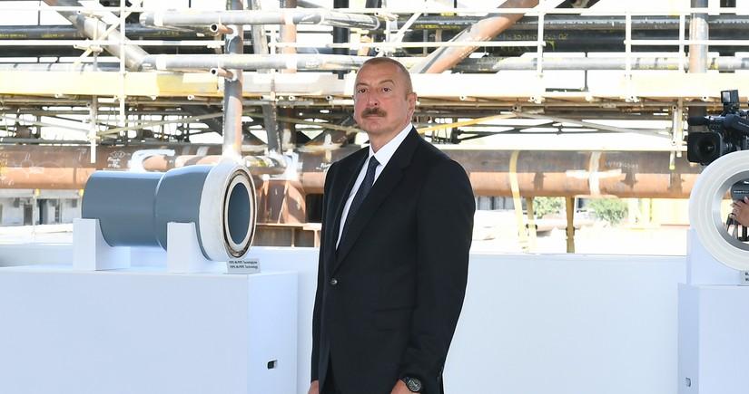 Президент принял участие в церемонии закладки фундамента морских операций на месторождении «Абшерон»