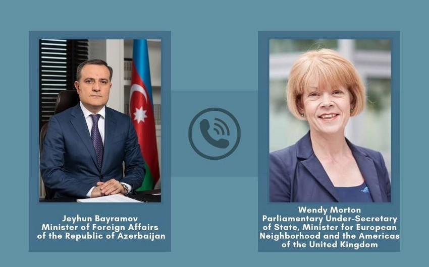 Jeyhun Bayramov holds phone talk with UK Minister for European Neighbourhood
