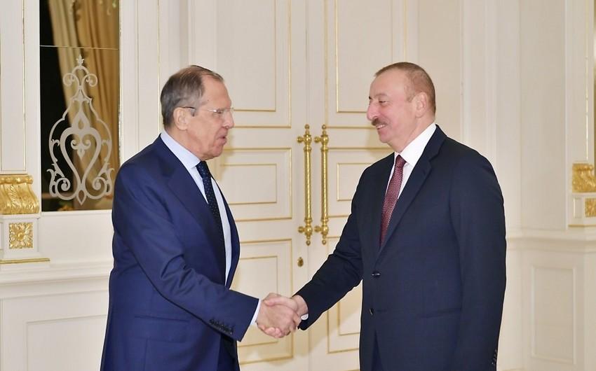 Президент Азербайджана Ильхам Алиев принял министра иностранных дел России - ФОТО