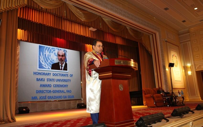 FAO-nun baş direktoruna BDU-nun fəxri doktoru diplomu təqdim olunub
