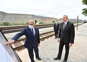 Ильхам Алиев ознакомился с проведенными работами на железнодорожной станции Ордубад