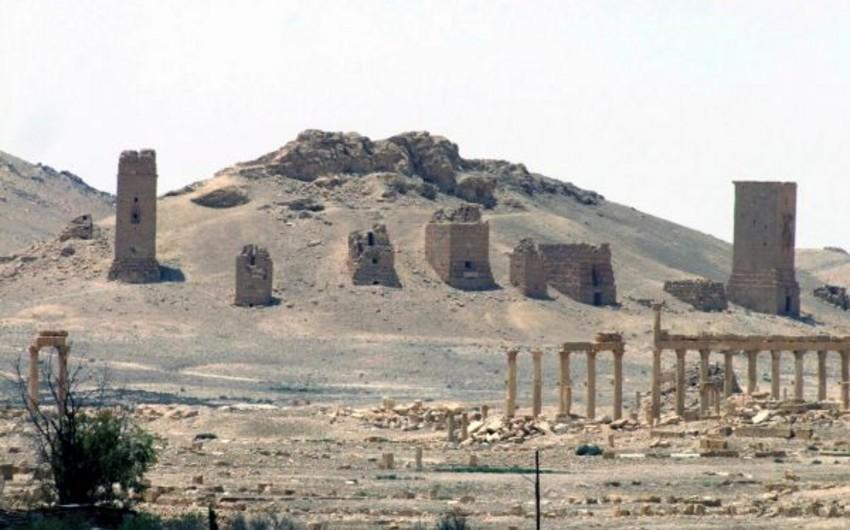 İŞİD terrorçuları insanları tarixi sütunlara bağlayaraq partladıblar