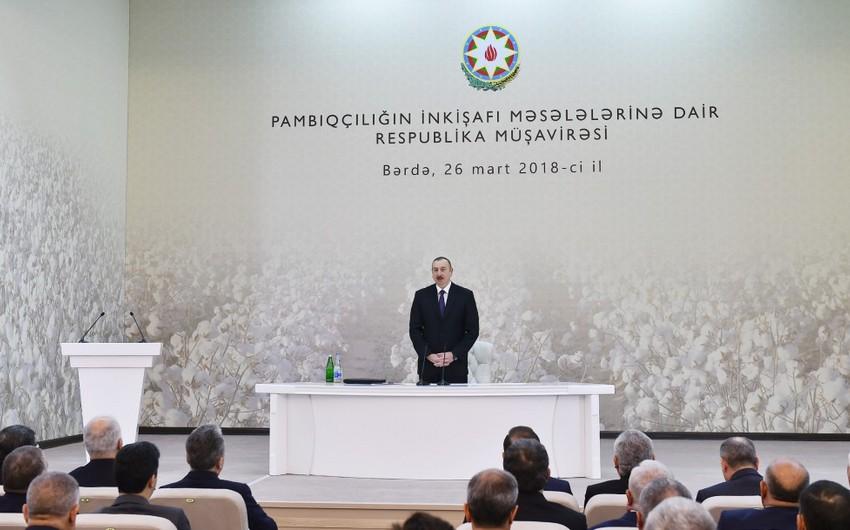 """İlham Əliyev: """"İki il ərzində pambığın yığımını 6 dəfə artıra bilmişik"""""""
