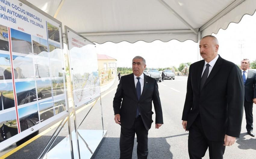 Azərbaycan Prezidenti Cocuq Mərcanlı kənd yolunun açılışında iştirak edib
