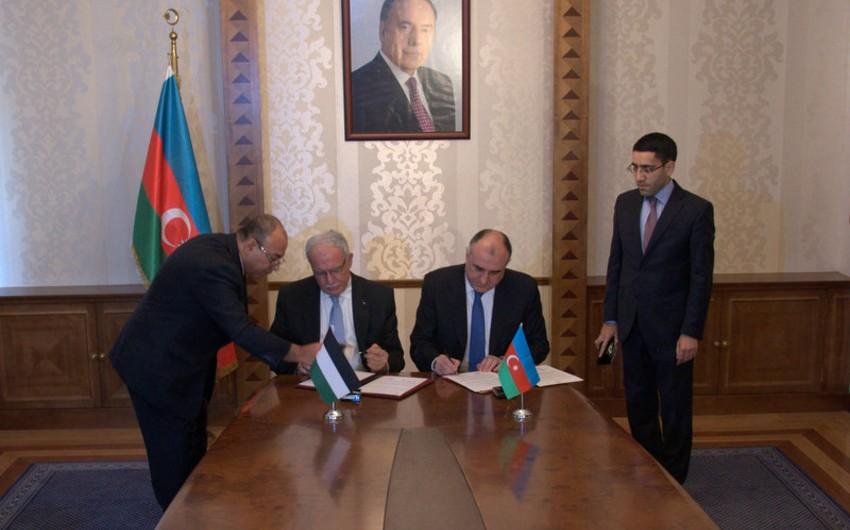 Azərbaycan və Fələstinin XİN-ləri arasında siyasi məsləhətləşmələr mexanizminə dair anlaşma memorandumu imzalanıb