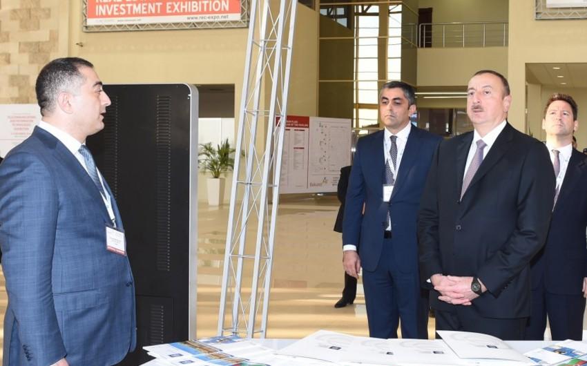 """Prezident İlham Əliyev """"BakuTel-2015"""" sərgisi ilə tanış olub"""