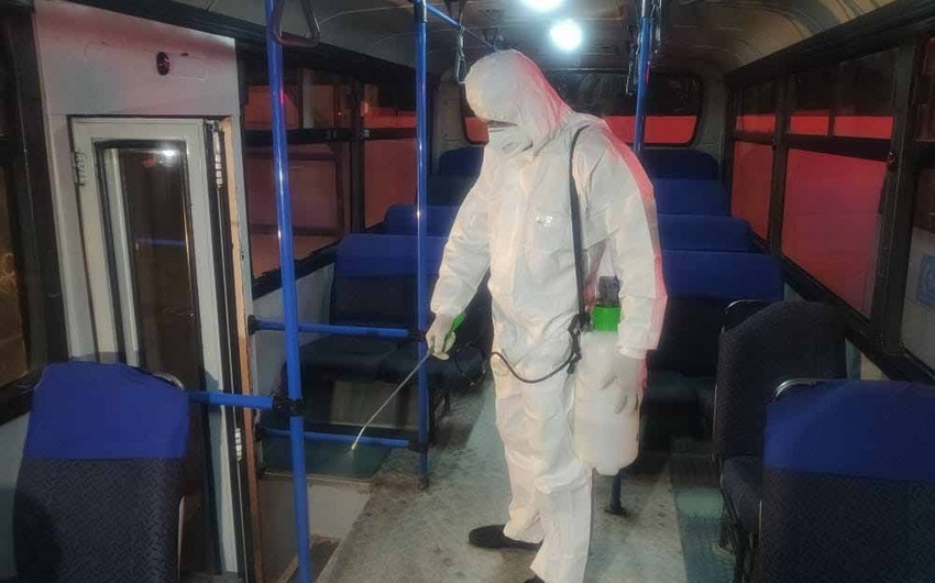 Bakı kəndlərinə işləyən avtobuslar dezinfeksiya olunur - FOTO - VİDEO