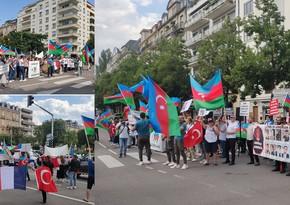 Azərbaycanlılar Avropa Şurasının qarşısında etiraz yürüşü keçirib