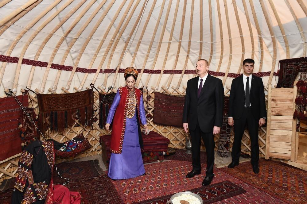 President Ilham Aliyev views Turkmen national carpet museum