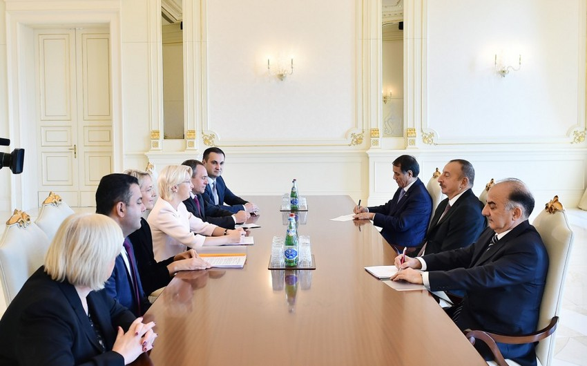 Президент Ильхам Алиев принял делегацию во главе с председателем Сейма Латвии - ДОПОЛНЕНО