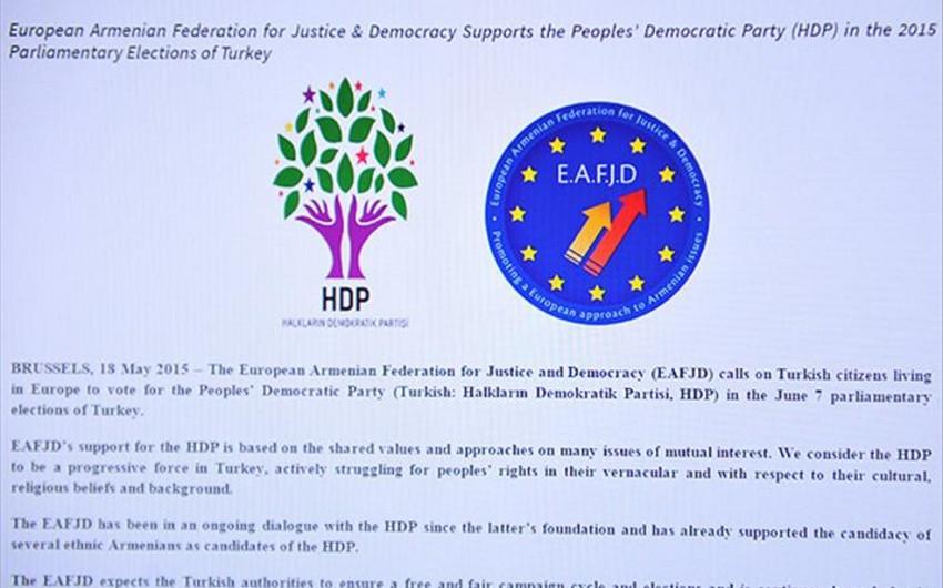 Армянская федерация Европы сделала заявление, поддерживающее террористов