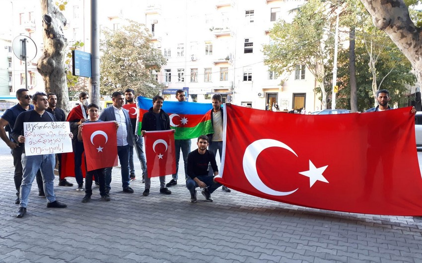Azerbaijani youth rally in support of Turkey in Tbilisi - PHOTO