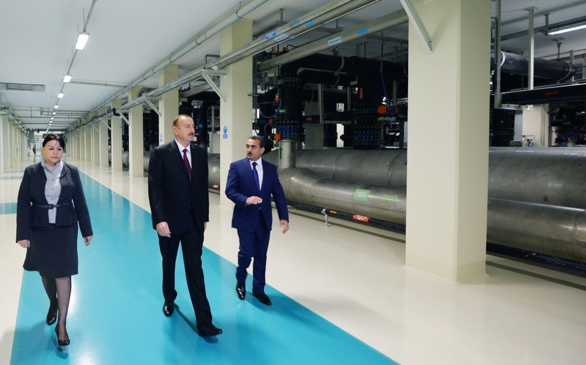 President Ilham Aliyev attends the opening of Jeyranbatan water purification facility complex