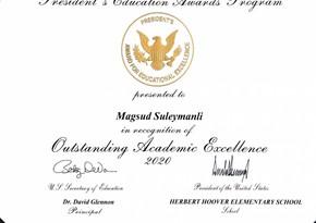 В США 10-летний азербайджанец получил премию президента за особые успехи в учебе