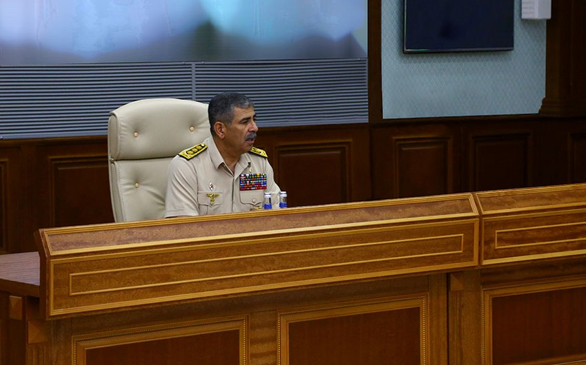 Azerbaijan's Defense Minister holds staff meeting