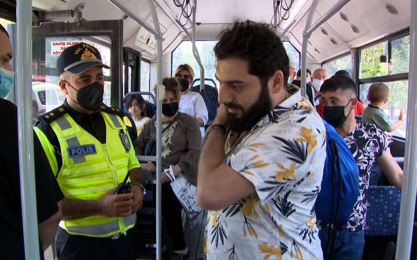 Sumqayıtda avtobusda maska taxmayan sərnişin və sürücülər cərimələndi - VİDEO