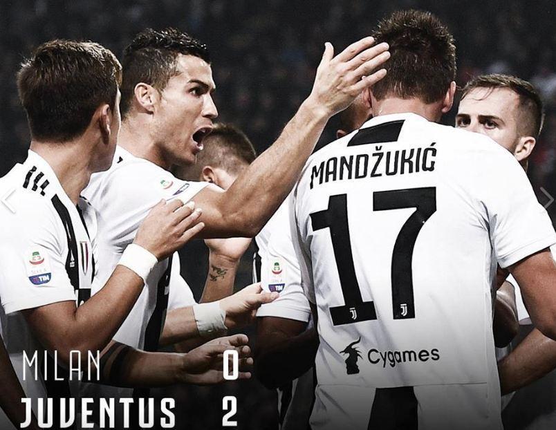 Ювентус обыграл Милан на Сан-Сиро благодаря голам Роналду и Манджукича