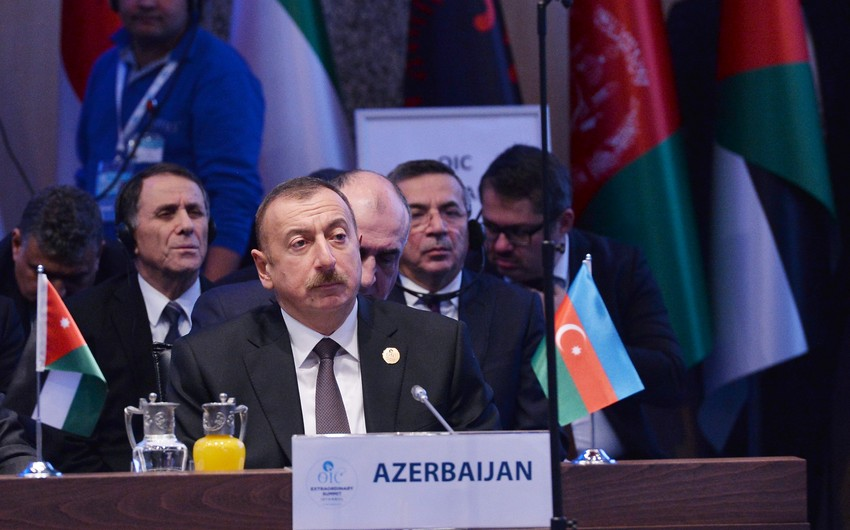"""Prezident İlham Əliyev: """"Qüds şəhərinin İsrailin paytaxtı kimi tanınması bizdə böyük narahatlıq yaradır"""""""