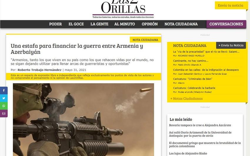 Kolumbiya mətbuatında Ermənistanın qanunsuzluqları ifşa edilib