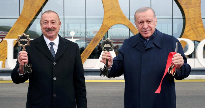 Symbolic key of Fuzuli International Airport presented to Ilham Aliyev,  Recep Tayyip Erdogan