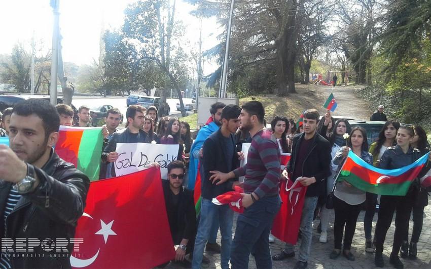 Tbilisidə gənclər Azərbaycana dəstək aksiyası keçiriblər - FOTO