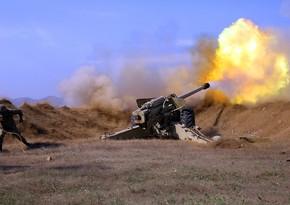 Azerbaijan Army's artillerymen strike at enemy's firing points