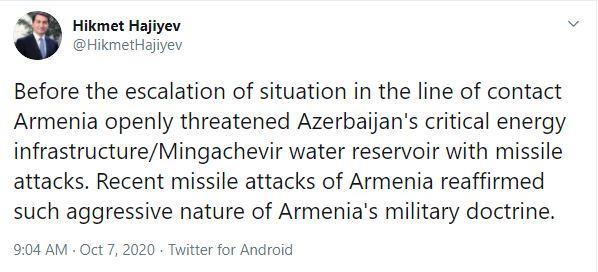 """Prezidentin köməkçisi: """"Ermənistanın hərbi doktrinasının aqressiv olduğu bir daha sübut olundu"""""""