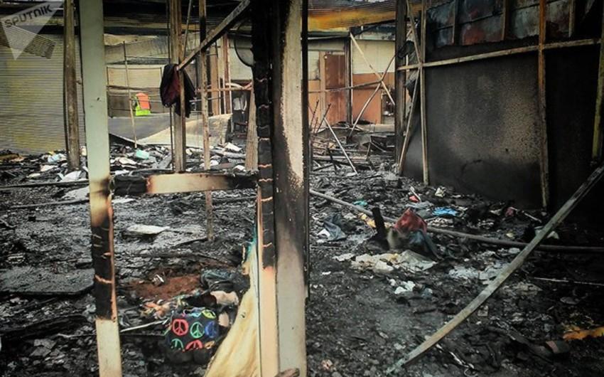 Rusiyanın Perm şəhərində mərkəzi kolxoz bazarı yanıb