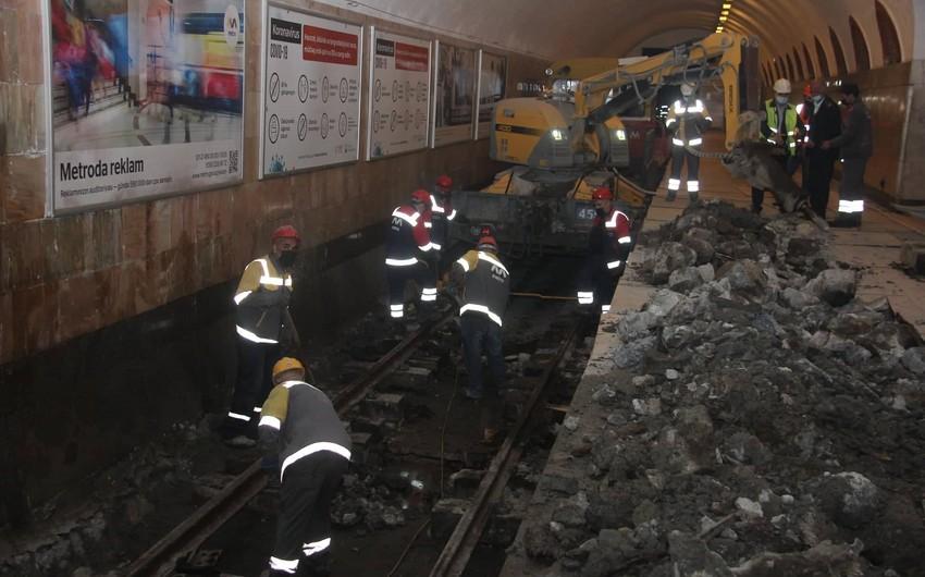Elmlər Akademiyası metro stansiyasının son görüntüləri