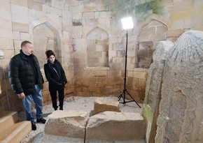 President Ilham Aliyev and first lady Mehriban Aliyeva viewed landscaping work carried out around Shahkhandan tomb in Shamakhi