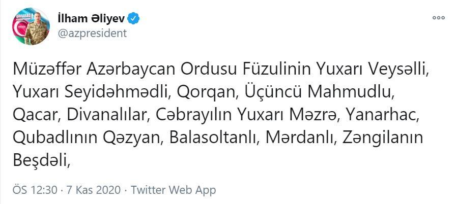 Füzulinin 6, Cəbrayılın 5, Zəngilanın 1 kəndi işğaldan azad olunub