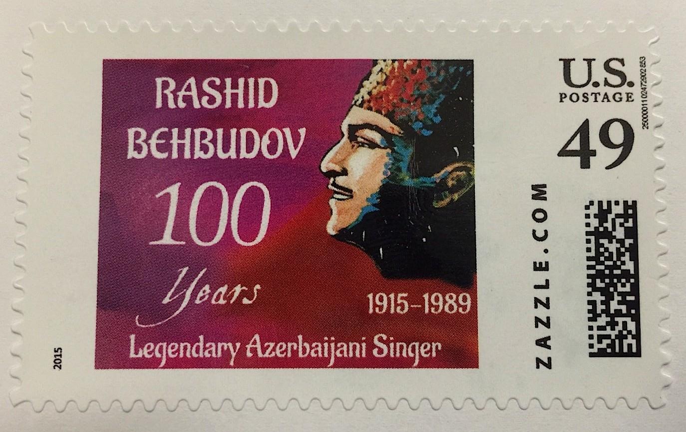 Postage stamps dedicated to Azerbaijani composer Uzeyir Hajibeyli and singer Rashid Behbudov issued in the U.S.