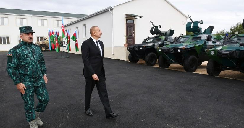 Верховный главнокомандующий ознакомился с воинской частью ГПС в Зангилане